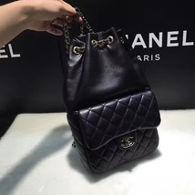 AUTHENTIC 2015 CHANEL QUILTED BLACK LAMBSKIN BACKPACK BAG GHW image 4