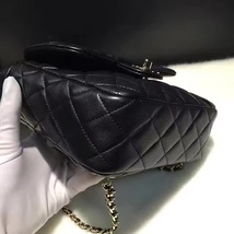 AUTHENTIC 2015 CHANEL QUILTED BLACK LAMBSKIN BACKPACK BAG GHW image 5