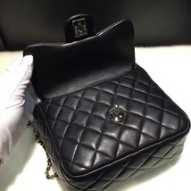 AUTHENTIC 2015 CHANEL QUILTED BLACK LAMBSKIN BACKPACK BAG GHW image 7