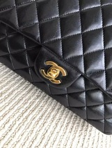Authentic Chanel Black Medium Lambskin Double Flap Bag GHW image 3