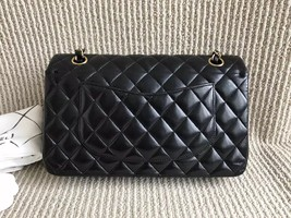 Authentic Chanel Black Medium Lambskin Double Flap Bag GHW image 2