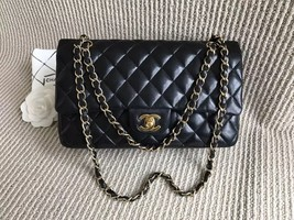 Authentic Chanel Black Medium Lambskin Double Flap Bag GHW