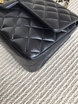 Authentic Chanel Black Medium Lambskin Double Flap Bag GHW image 7