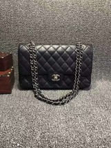 Authentic Chanel Black Medium Caviar Double Flap Bag SHW