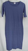 LuLaRoe Julia Dress in XXS in Heathered Blue with Blue Stripes  NWT - $42.07