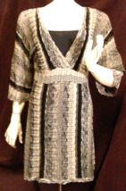 Black & Gray Vertical Stripe Silver Metallic Weave Longsleeve Light Weig... - $38.00