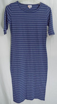 LuLaRoe Julia Dress in L in Heathered Blue with Blue Stripes  NWT - $42.07