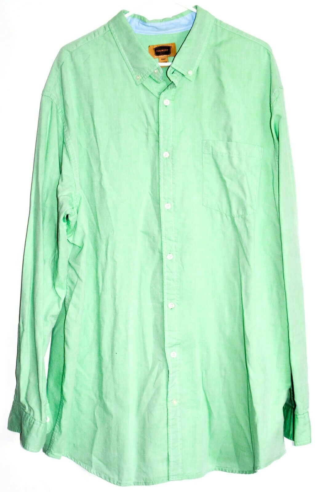 The Foundry Men's Mint Kelly Green Long Sleeve Button Down Shirt Size 2XLT