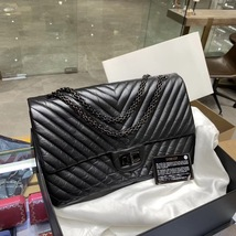 Chanel Black 2.55 Reissue SO BLACK CHEVRON Calfskin 227 Jumbo Double Flap Bag