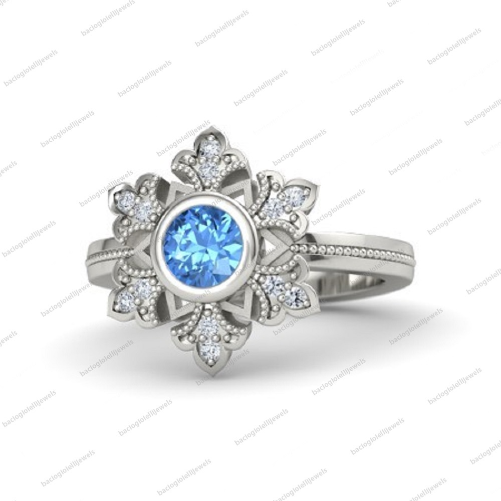 Primary image for 14k White Gold Fn 925 Silver Blue Topaz Snowflake Engagement Ring Free Shipping