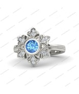 14k White Gold Fn 925 Silver Blue Topaz Snowflake Engagement Ring Free Shipping - $89.55