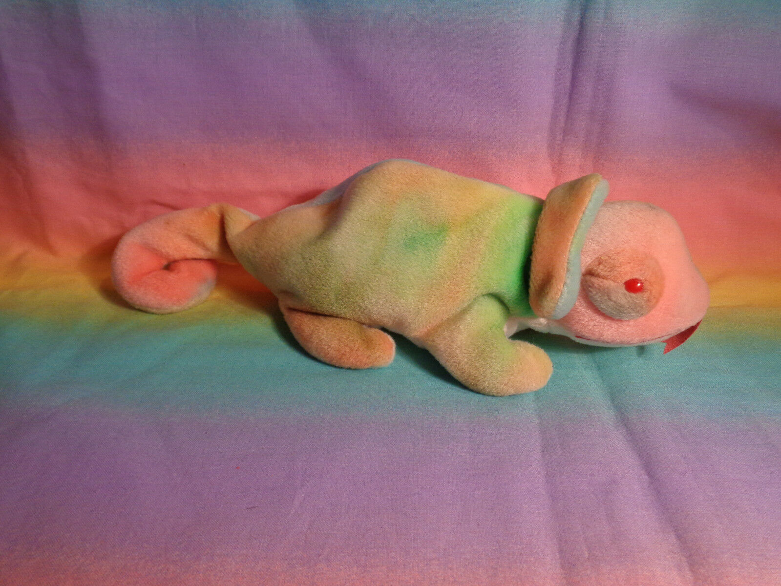 Vintage 1997 Ty Beanie Baby Rainbow Chameleon Bean Bag Plush w/ Tags - as is