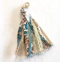 Tassel Keychain, Tassel Keyring, Purse Charms Tassel, Fabric Keychain, Turquoise