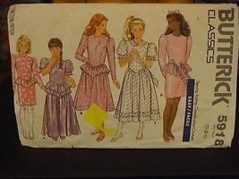 Butterick 5918 Girl's Dress w/Peplum Pattern - Size 7 - $5.66