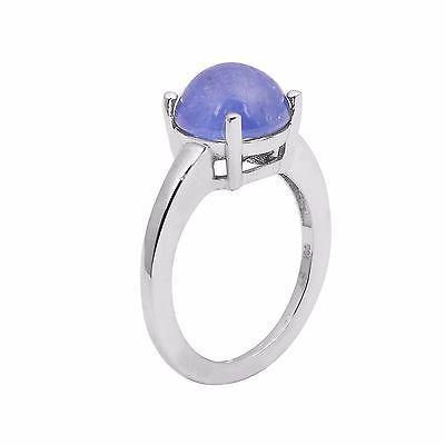 4.80 Carat Solid Round Cab Tanzanite Gemstone Sterling Silver Ring Sz7 SHRI01024