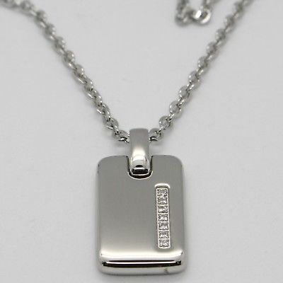 STAINLESS STEEL MILITARY DOG TAG PENDANT ZIRCONIA ROLO CHAIN NECKLACE BY ZANCAN