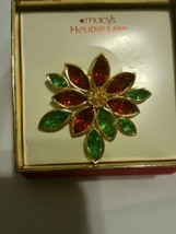 Poinsettia Macy's Holiday Lane Brooch Pin  - $8.55