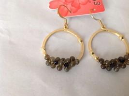 NEW Geranium Gold Toned Dangling Earrings Dark Gray Black Stones Ring Earrings image 2