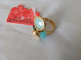NEW Geranium Gold Toned Ring With Blue Stones NWT Adjustable size 7 + image 2