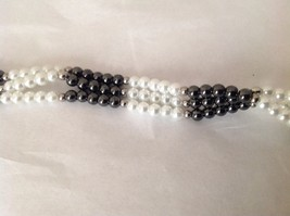 "NEW Beaded Multi Strand Black Stone Faux Pearl Bracelet Magnetic Closure 9"" long image 2"