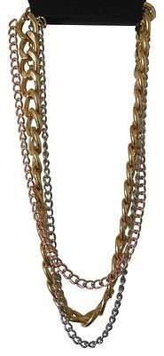 Primary image for Rose Gold, Gold & Silver Tone Set Of Three Chains Necklace 16 Inches New Nwt