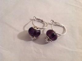 NEW Silver Toned Purple Lampwork Glass Bead Dangling Earrings Filigree  image 2