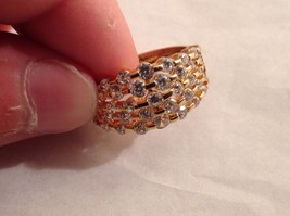 NEW Geranium Gold Toned Ring With Many Swarovski Clear Elements Size 10 image 2