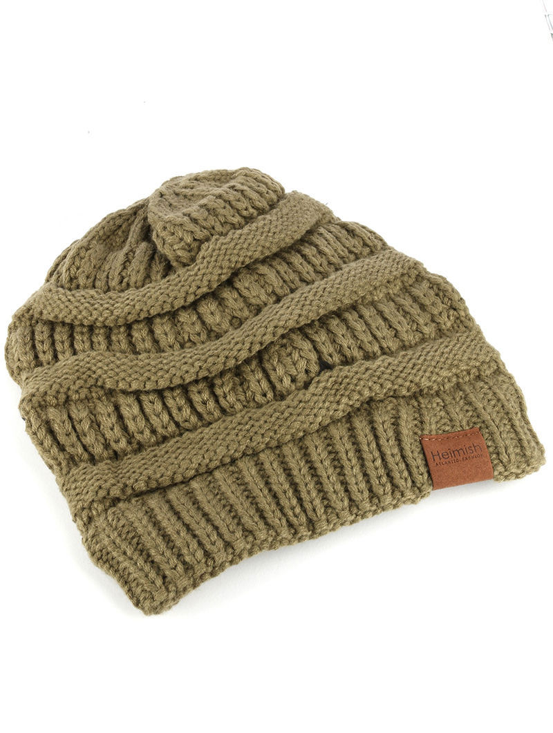 Trendy! Knit Beanie Cap Winter Hat Swag Green