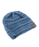 Trendy! Knit Beanie Cap Winter Hat Swag Blue - $12.86