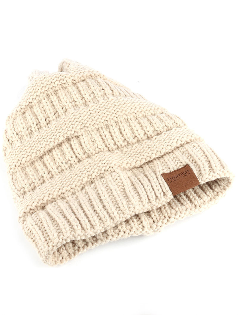 Trendy! Knit Beanie Cap Winter Hat Swag Beige