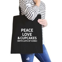 Peace Love Cupcakes Black Canvas Bag Cute Daily Purse Eco Bags - $15.99