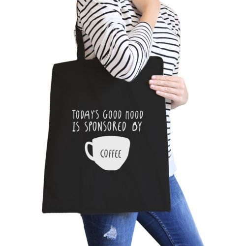 Primary image for Sponsored By Coffee Black Canvas Bag Cute Gift For Coffee Lover