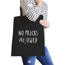 No Pricks Allowed Black Canvas Bag Gifts For Teenage Girl Tote Bags - $21.22 CAD