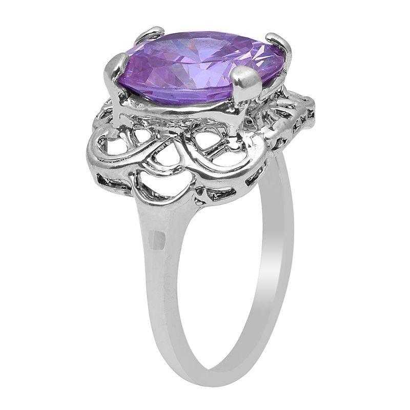 Purple Cubic Zirconia Women 925 Sterling Silver Jewelry Ring  Sz 7.5 SHRI0795