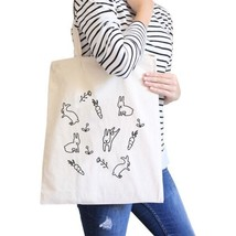 Rabbit Pattern Natural Canvas Bags Cute Bunny Ester Gift Ideas - $13.99