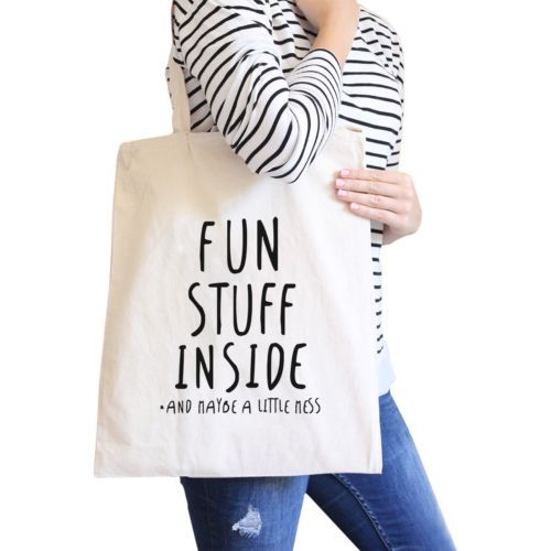 Fun Stuff Inside Natural Canvas Bag Book Bags Gifts For Teenagers - $13.99