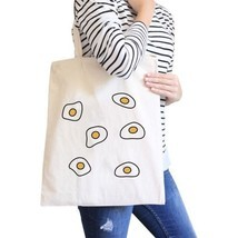 Fried Egg Pattern Natural Canvas Bag Shopper Bags For Food lovers - $18.44 CAD