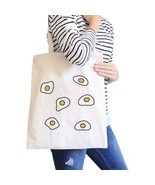 Fried Egg Pattern Natural Canvas Bag Shopper Bags For Food lovers - $18.60 CAD