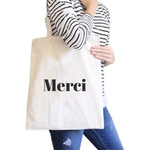 Merci Natural Canvas Bag Cute And Simple Shoulder bags Gift For Her - $13.99