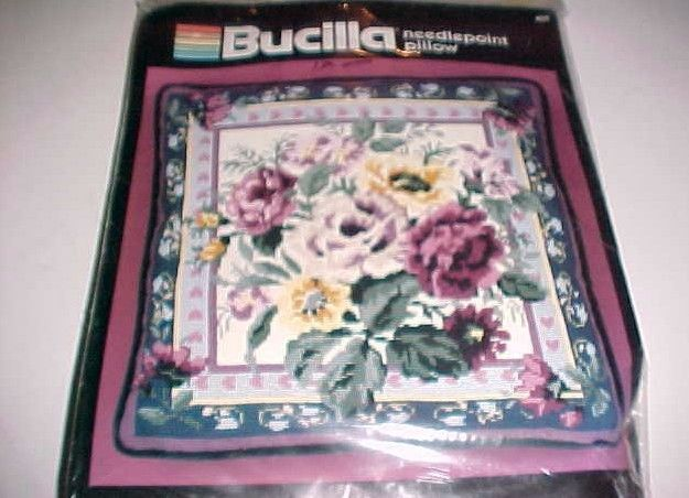 """Bucilla Needlepoint Pillow Country Roses 14"""" Square #4625 Vintage New - $44.50"""