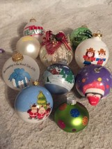 Mixed Lot 10 Glass Ball & Assorted Christmas Ornaments. RFD TV. Blinking. More! - $19.24