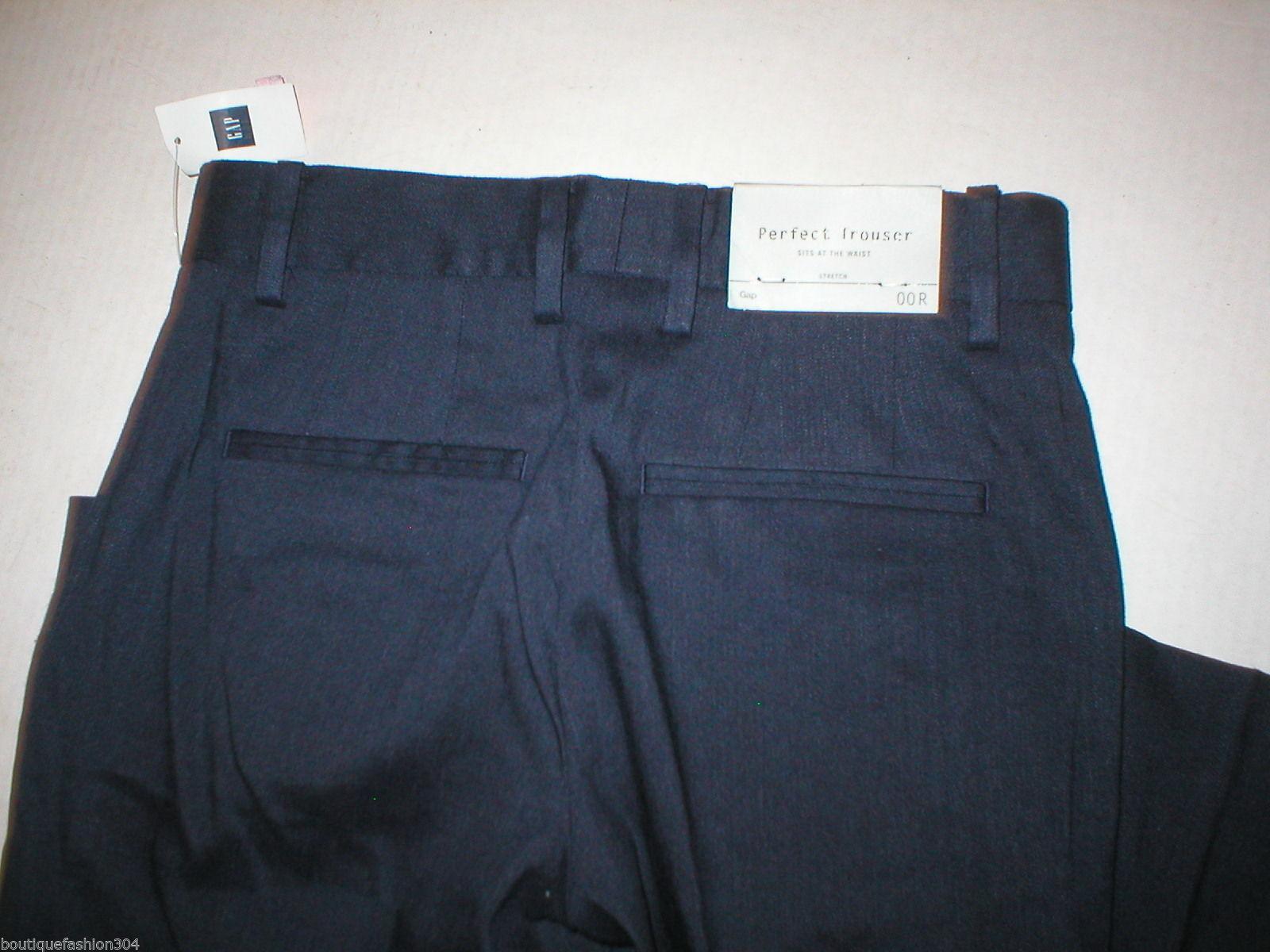 New NWT $70 Gap Perfect Trouser Pants 00 Regular Navy Blue 24 Dark Work Linen