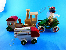4 Vintage Wooden Christmas Ornaments Trains, Logging truck Jolope with lady - $10.93