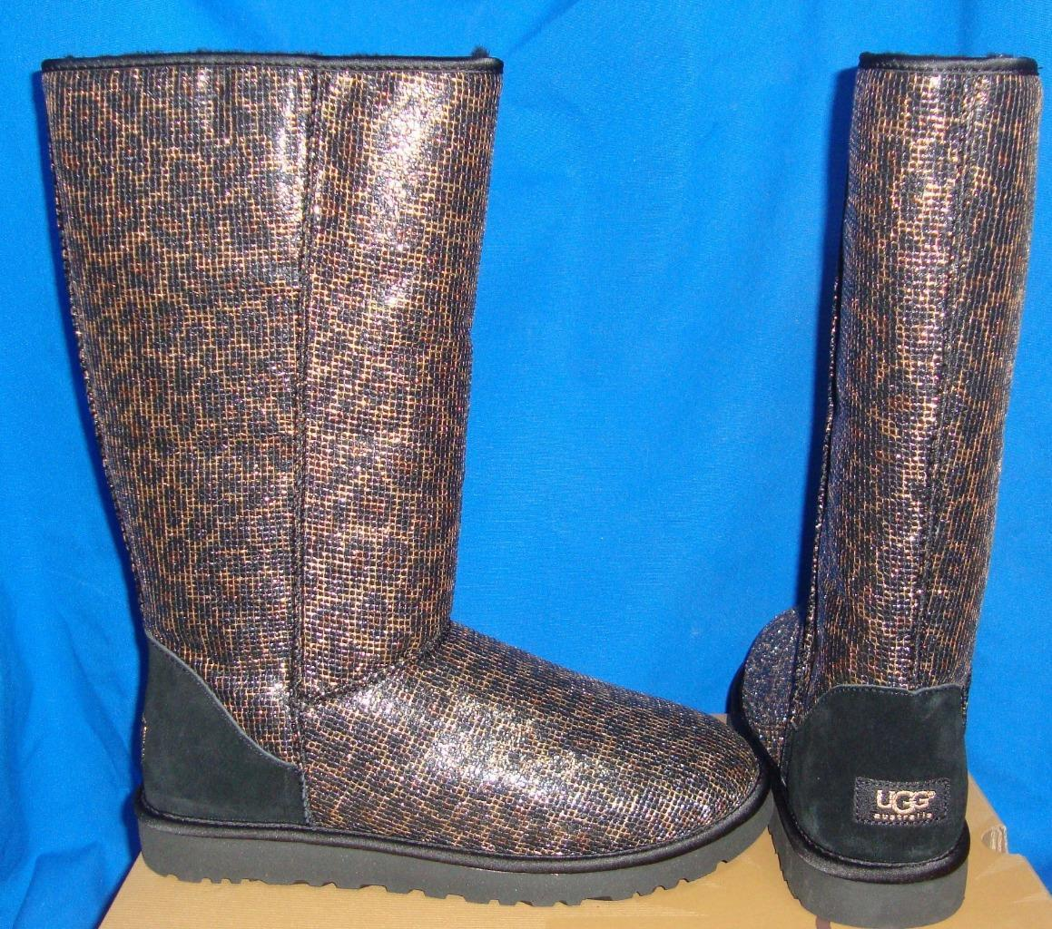 Primary image for UGG Australia Classic Black Tall Glitter Leopard Boots Size US 9 EU 40 NIB