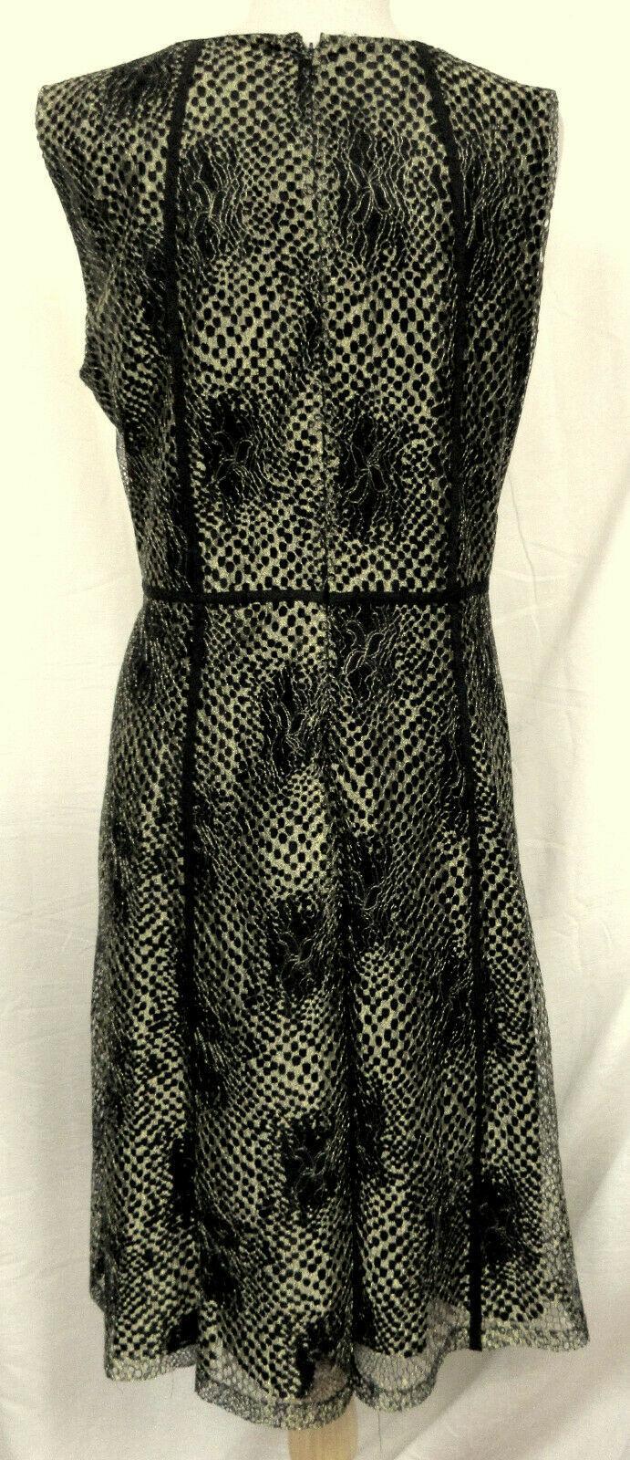 ANNE KLEIN Sleeveless Lace Fit n' Flare Gold Megtallic Overlay Black Dress 16W