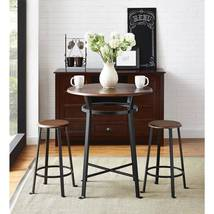Home Bar Pub Set Dining Furniture Bistro Counter Table Stools 3 Pc Wood ... - $119.95