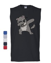 Dabbing Dog in Glasses Muscle Shirt Doggie Dab Pet Lovers Pup Puppy Sleeveless - $17.06+
