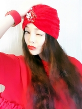 Red Velvet Crystal Scarf,Womens Turbans,Full Turbans,Turban Headband,Tur... - $18.99