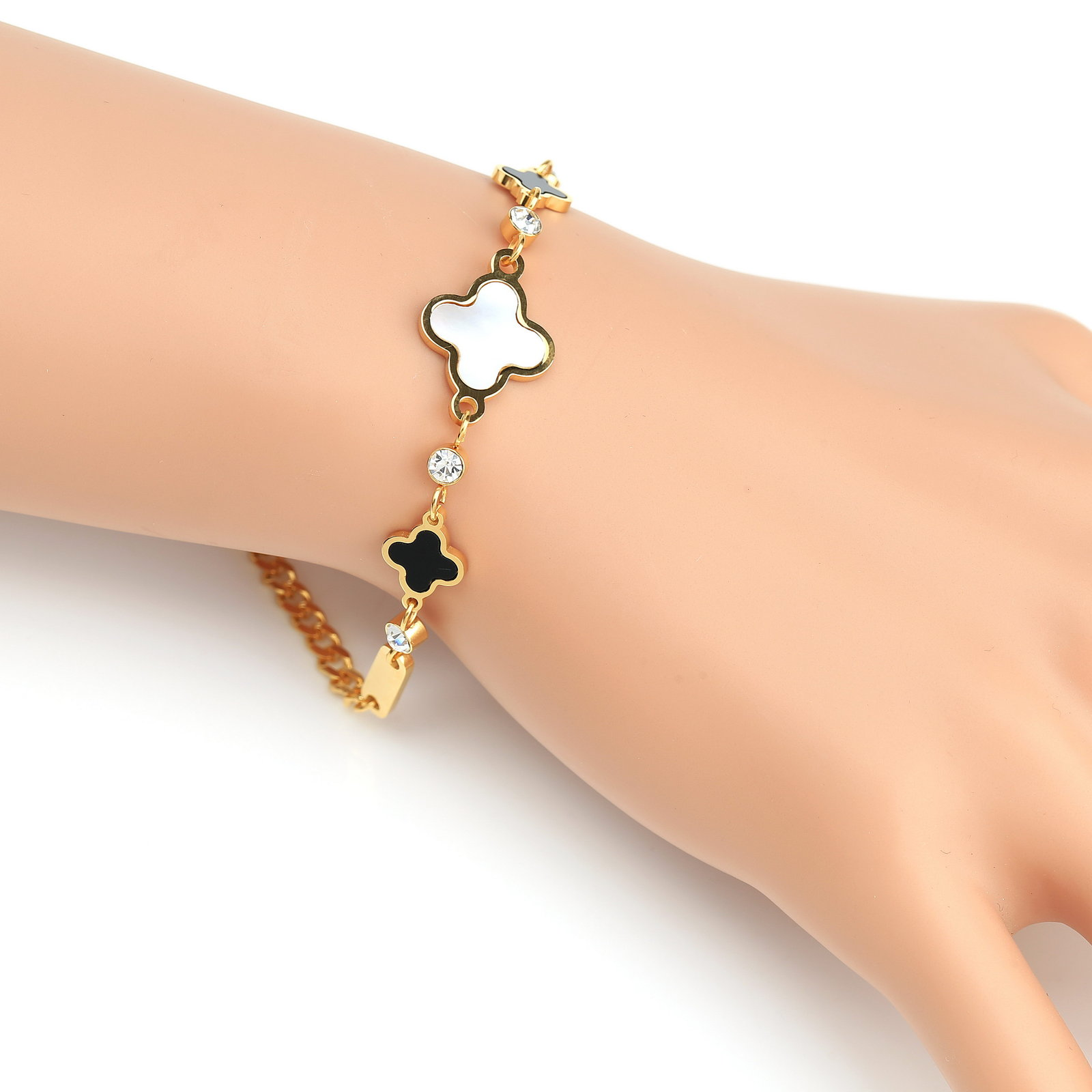 Primary image for UE-Designer Clover Bracelet-Swarovski Style Crystals, Faux Onyx, Mother of Pearl