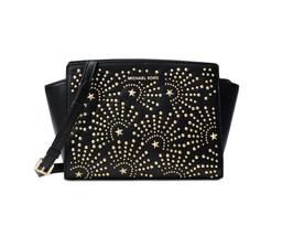 Michael Kors Selma Stud Firework Medium Leather Messenger Bag Black New ... - $168.35